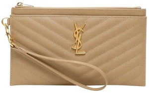 Saint Laurent Wristlet in tan, gold