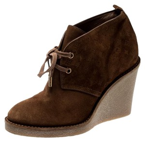 Louis Vuitton Monogram Suede Leather Wedge Brown Boots