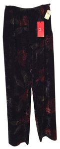 Emanuel Ungaro Velvet Flower Navy Red Zipper Wide Leg Pants Multi/Navy/Red