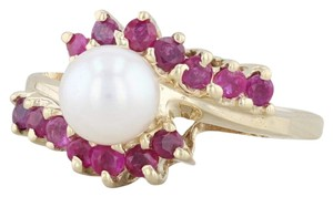 Other Cultured Pearl Ruby Bypass Ring 14k Yellow Gold Size 7.5 Wrap