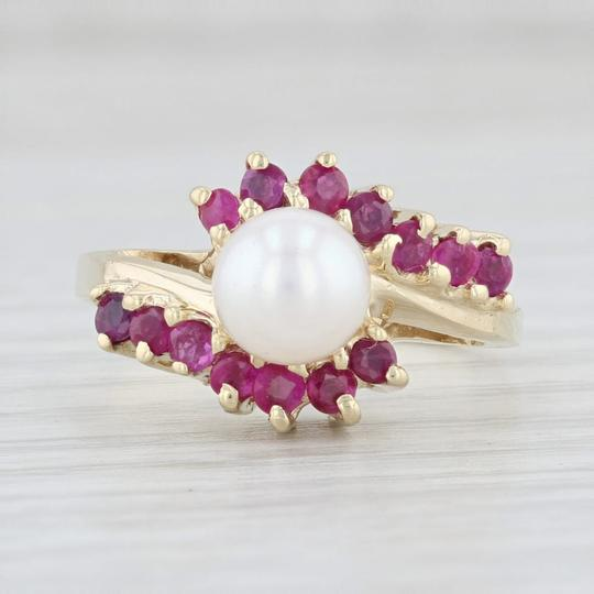 Other Cultured Pearl Ruby Bypass Ring 14k Yellow Gold Size 7.5 Wrap Image 1
