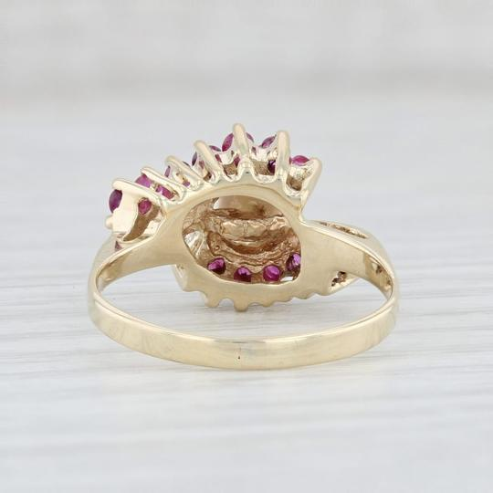 Other Cultured Pearl Ruby Bypass Ring 14k Yellow Gold Size 7.5 Wrap Image 3