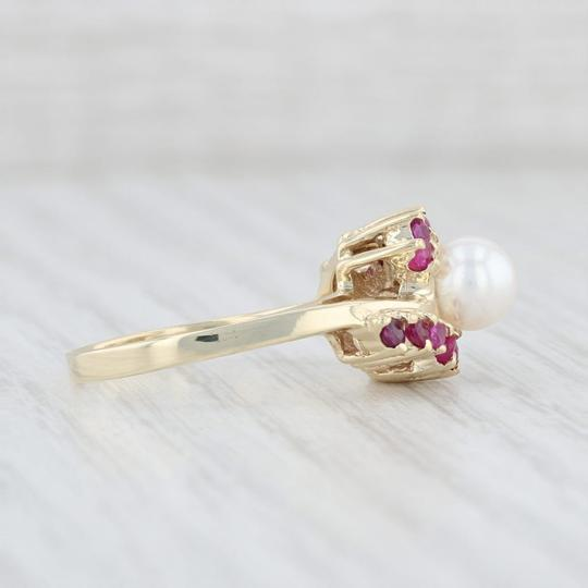 Other Cultured Pearl Ruby Bypass Ring 14k Yellow Gold Size 7.5 Wrap Image 4