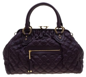Marc Jacobs Leather Quilted Satchel in Purple
