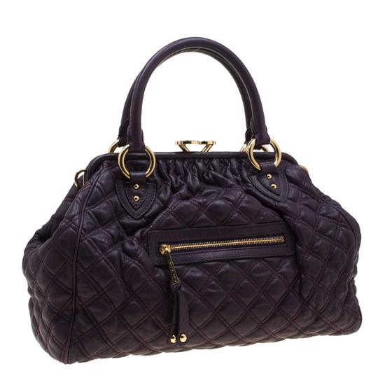 Marc Jacobs Leather Quilted Satchel in Purple Image 3