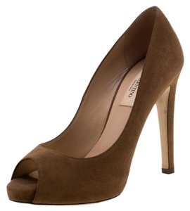 Valentino Suede Peep Toe Leather Brown Pumps