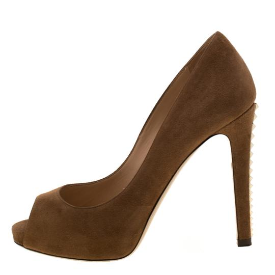 Valentino Suede Peep Toe Leather Brown Pumps Image 1