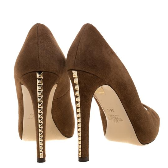 Valentino Suede Peep Toe Leather Brown Pumps Image 4