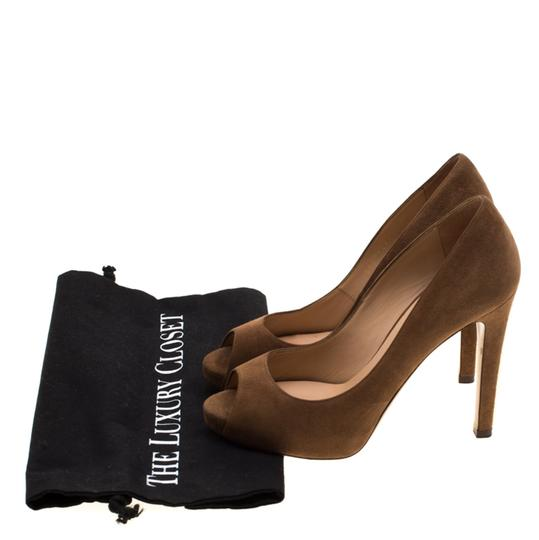 Valentino Suede Peep Toe Leather Brown Pumps Image 7