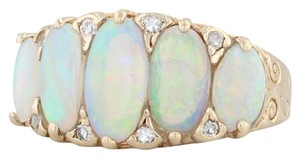 Other Vintage Opal Diamond Ring 14k Yellow Gold Size 6.75 Ornate 5 Stone