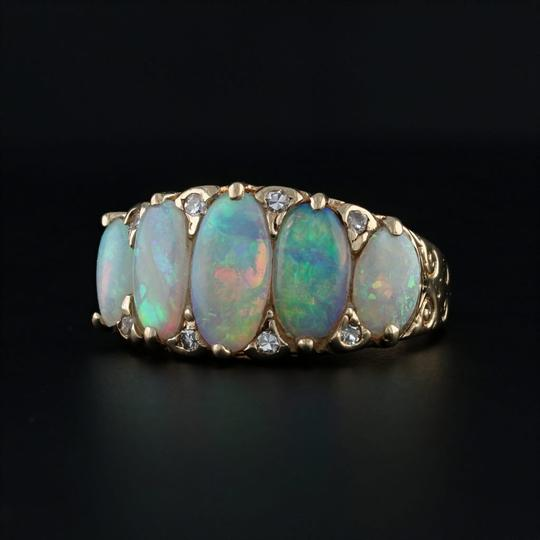 Other Vintage Opal Diamond Ring 14k Yellow Gold Size 6.75 Ornate 5 Stone Image 1