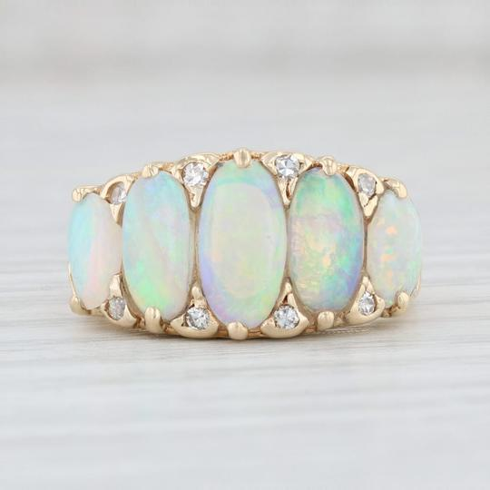 Other Vintage Opal Diamond Ring 14k Yellow Gold Size 6.75 Ornate 5 Stone Image 2