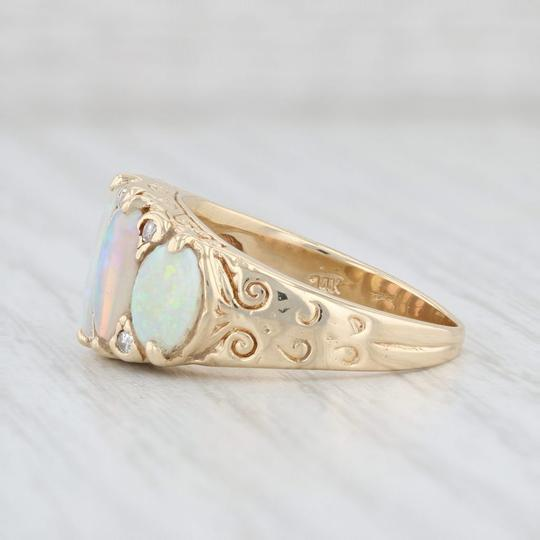 Other Vintage Opal Diamond Ring 14k Yellow Gold Size 6.75 Ornate 5 Stone Image 4
