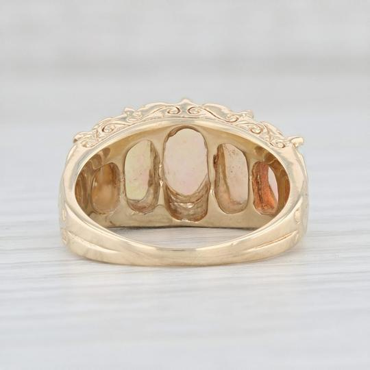 Other Vintage Opal Diamond Ring 14k Yellow Gold Size 6.75 Ornate 5 Stone Image 5