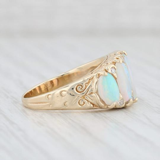 Other Vintage Opal Diamond Ring 14k Yellow Gold Size 6.75 Ornate 5 Stone Image 6