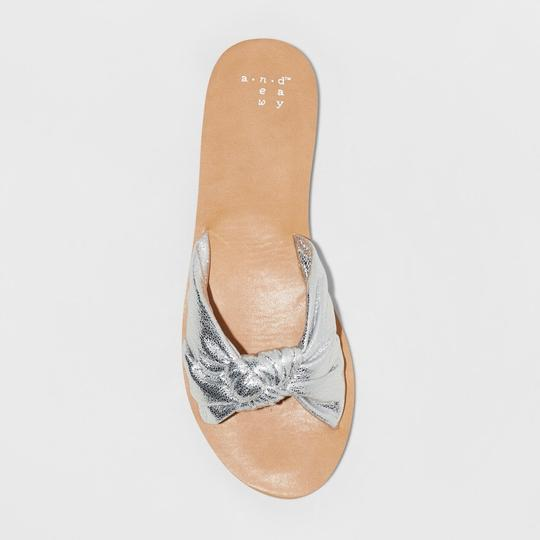A New Day Slide Flat Sole Silver Sandals Image 2