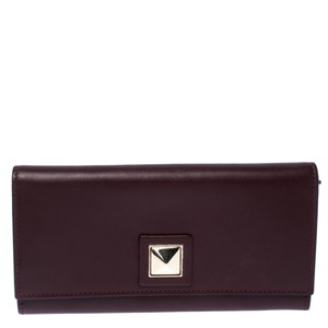 Valentino Burgundy Leather Flap Continental Wallet