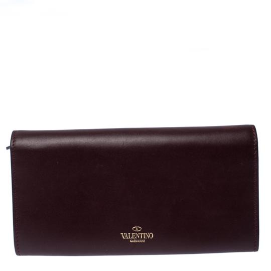 Valentino Burgundy Leather Flap Continental Wallet Image 1