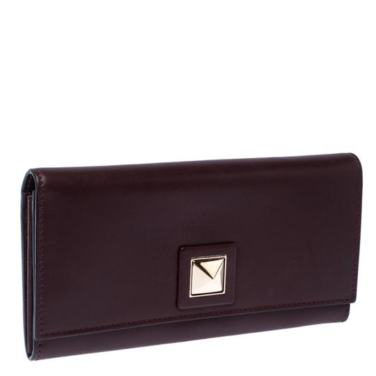 Valentino Burgundy Leather Flap Continental Wallet Image 2