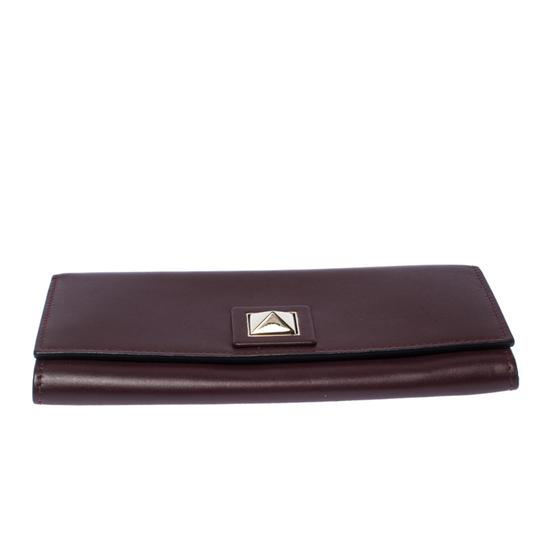 Valentino Burgundy Leather Flap Continental Wallet Image 3