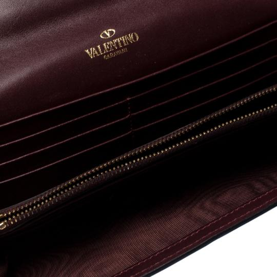 Valentino Burgundy Leather Flap Continental Wallet Image 6