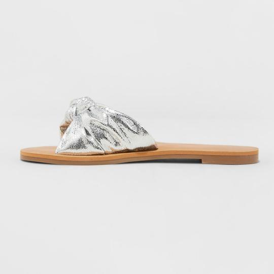 A New Day Flat Sole Slide Silver Sandals Image 1