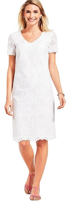 Preload https://img-static.tradesy.com/item/26872510/talbots-white-embroidered-scallop-hem-floral-eyelet-mid-length-short-casual-dress-size-14-l-0-1-650-650.jpg