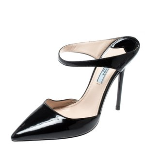 Prada Patent Leather Pointed Toe Leather Black Sandals