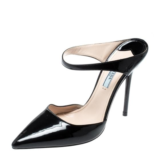 Prada Patent Leather Pointed Toe Leather Black Sandals Image 0