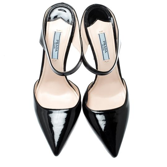 Prada Patent Leather Pointed Toe Leather Black Sandals Image 1