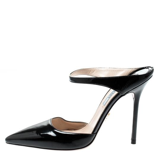 Prada Patent Leather Pointed Toe Leather Black Sandals Image 4