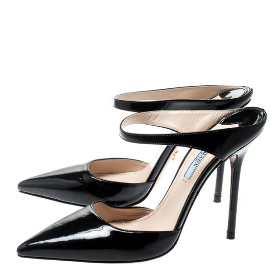 Prada Patent Leather Pointed Toe Leather Black Sandals Image 5