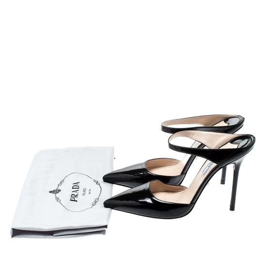 Prada Patent Leather Pointed Toe Leather Black Sandals Image 7