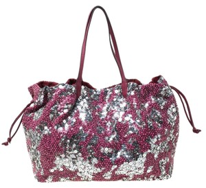 Valentino Leather Sequin Embellished Tote in Burgundy