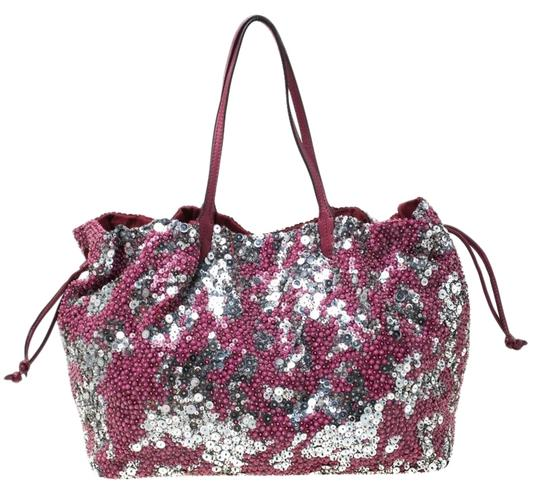 Preload https://img-static.tradesy.com/item/26872546/valentino-burgundysilver-sequins-embellished-burgundy-fabric-and-leather-tote-0-1-540-540.jpg