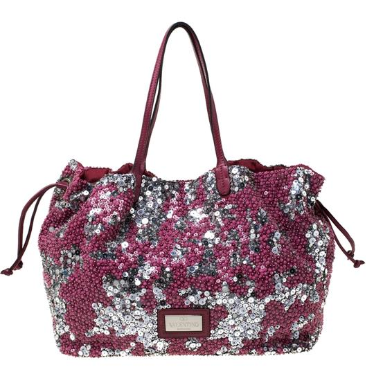Valentino Leather Sequin Embellished Tote in Burgundy Image 1