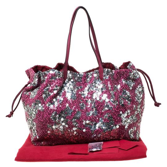 Valentino Leather Sequin Embellished Tote in Burgundy Image 11