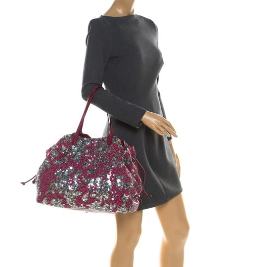Valentino Leather Sequin Embellished Tote in Burgundy Image 2