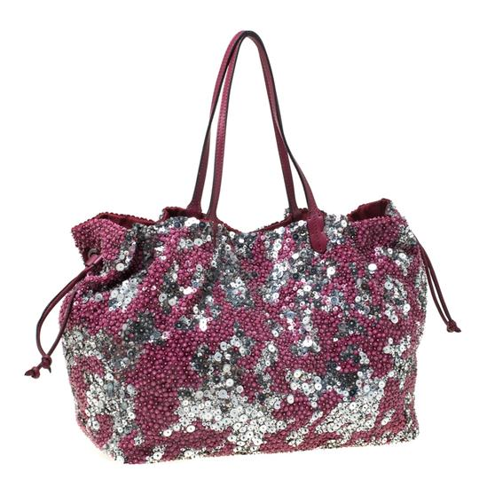 Valentino Leather Sequin Embellished Tote in Burgundy Image 3