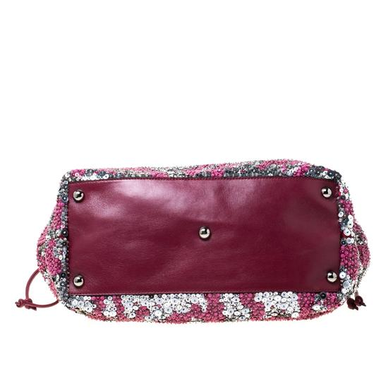 Valentino Leather Sequin Embellished Tote in Burgundy Image 4