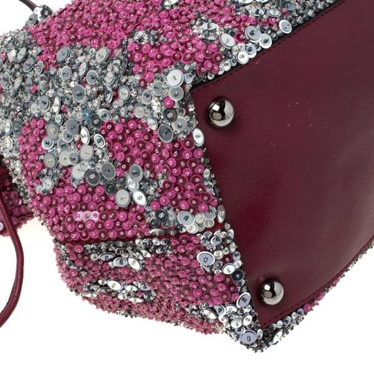 Valentino Leather Sequin Embellished Tote in Burgundy Image 7