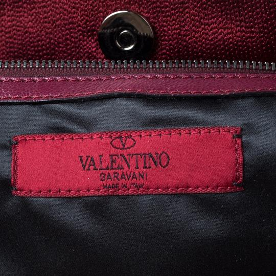 Valentino Leather Sequin Embellished Tote in Burgundy Image 8