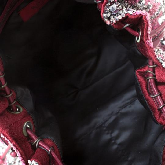 Valentino Leather Sequin Embellished Tote in Burgundy Image 9