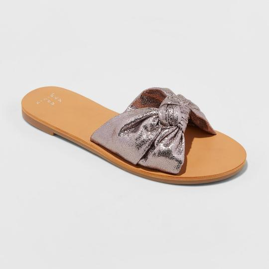 A New Day Flat Sole Slide Pewter Sandals Image 2