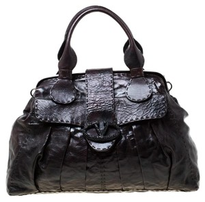 Valentino Leather Crystal Canvas Satchel in Brown