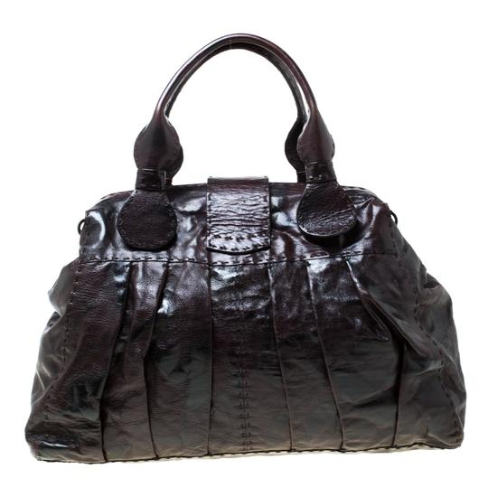 Valentino Leather Crystal Canvas Satchel in Brown Image 1