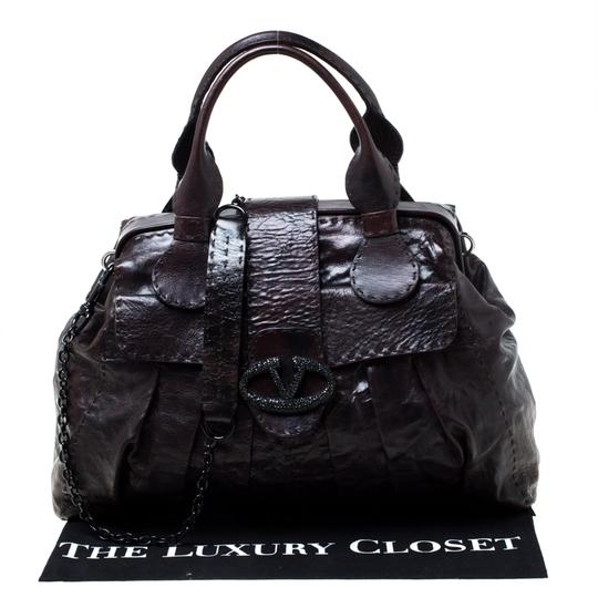Valentino Leather Crystal Canvas Satchel in Brown Image 10