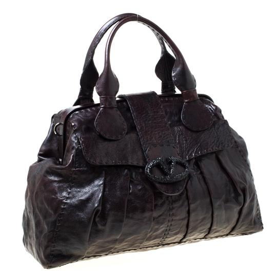 Valentino Leather Crystal Canvas Satchel in Brown Image 3