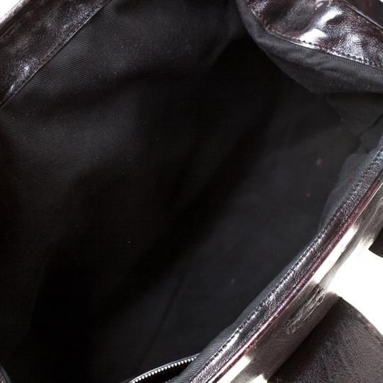 Valentino Leather Crystal Canvas Satchel in Brown Image 4