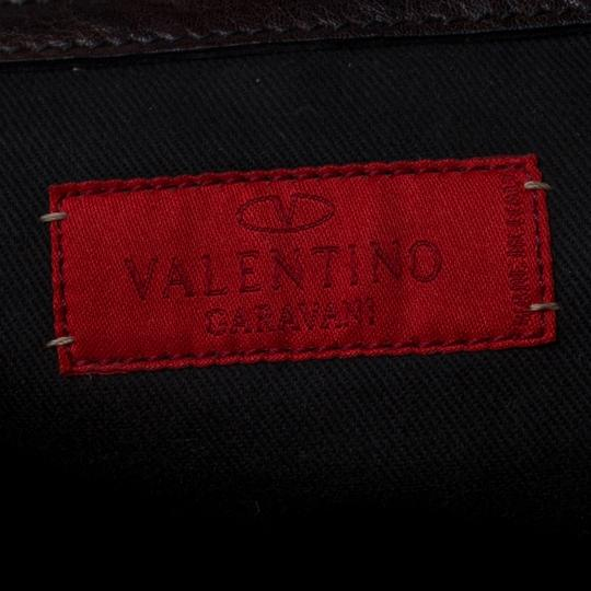 Valentino Leather Crystal Canvas Satchel in Brown Image 8
